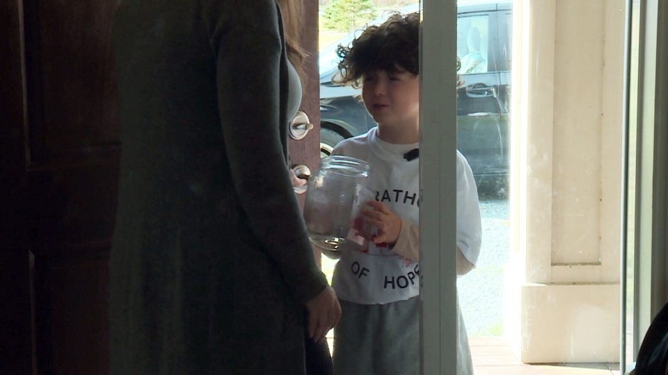 The 7-year-old will be going door to door to collect donations for the Terry Fox Foundation. (NTV News)