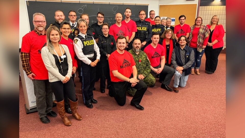 The group representing the 'Man Up' pilot program at Georgian College in Orillia. Mon., Oct. 28, 2019 (Beatrice Vaisman/CTV News)