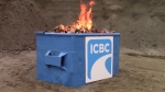 The Canadian Taxpayers Federation staged a literal dumpster fire in a video criticizing B.C.'s public insurer.