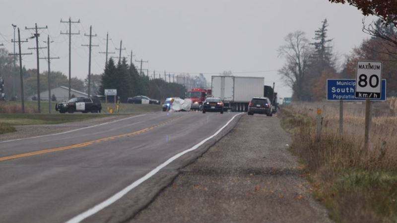 A fatal crash on Highway 4 south of Exeter Ont. on Tuesday, Oct. 29, 2019. (Gerry Dewan/CTV London)