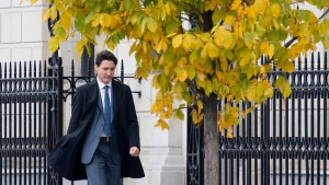Prime Minister Justin Trudeau walks to his first news conference since being re-elected Wednesday October 23, 2019 in Ottawa. THE CANADIAN PRESS/Adrian Wyld