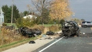 Police block the scene of a crash on Imperial Road north of Aylmer, Ont. on Tuesday, Oct. 29, 2019. (Jim Knight / CTV London)