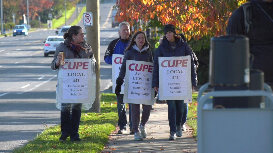 Support staff for the Saanich School District continue to march during the district-wide strike: Oct. 29, 2019 (CTV News)