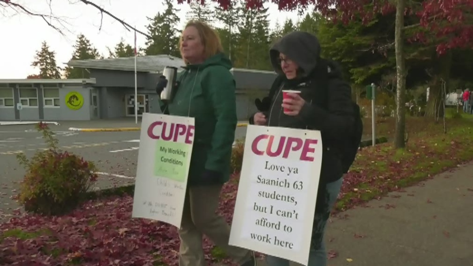 CUPE local 441 workers have been picketing outside Saanich schools, saying they are paid far less than those doing equivalent jobs in nearby school districts, such as Victoria and Sooke. (CTV Vancouver Island)