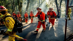 Inmate firefighters battle the Kincade Fire near Healdsburg, Calif., on Tuesday, Oct. 29, 2019. (AP / Noah Berger)