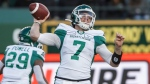 Saskatchewan Roughriders quarterback Cody Fajardo (7) makes the throw against the Edmonton Eskimos during first half CFL action in Edmonton, Alta., on Saturday October 26, 2019. THE CANADIAN PRESS/Jason Franson.