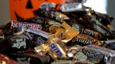 'Fun Size' and 'Mini' candies are seen in New York on Sept. 30, 2007. (THE CANADIAN PRESS/AP, Dan Goodman)