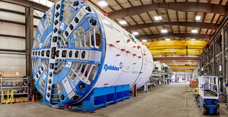 This tunnel boring machine (TBDM) will dig a 3.5-km tunnel between the Technoparc and Montreal-Trudeau airport as part of the REM project. (Handout photo)