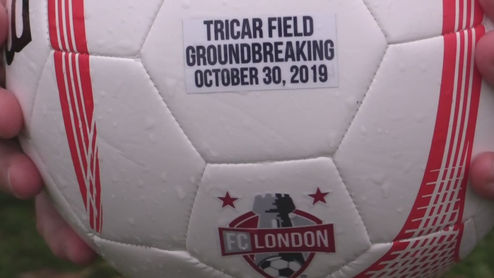 A ball dropped at the ground-breaking for the new turf Tricar Field in London, Ont. on Wednesday, Oct. 30, 2019. (Brent Lale / CTV London)
