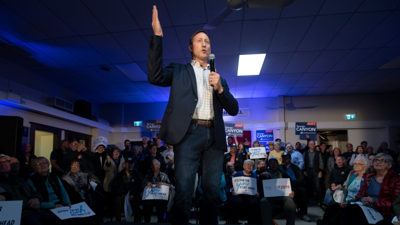 Peter MacKay speaks before Conservative leader Andrew Scheer arrives at a campaign stop in Little Harbour, N.S. Thursday October 17, 2019. THE CANADIAN PRESS/Adrian Wyld
