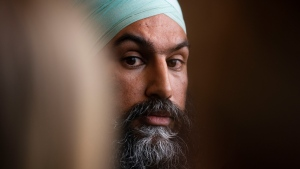 NDP leader Jagmeet Singh listens to a question as he holds a press conference following a meeting with his caucus in Ottawa on Wednesday Oct. 30, 2019. THE CANADIAN PRESS/Sean Kilpatrick