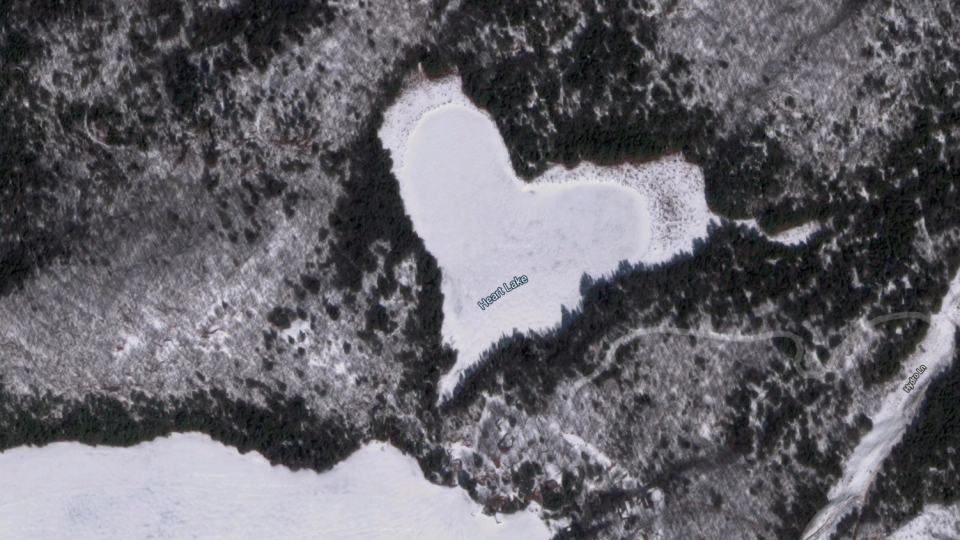 Heart Lake, near Ompah, Ont. is seen in this image from Google Maps. (Google Maps)