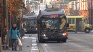 A TransLink bus is seen in downtown Vancouver in this CTV News file image.