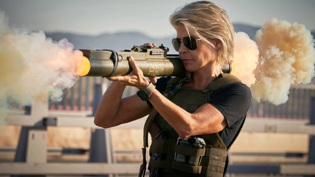 """This image released by Paramount Pictures shows Linda Hamilton in """"Terminator: Dark Fate."""" (Kerry Brown/Paramount Pictures via AP)"""
