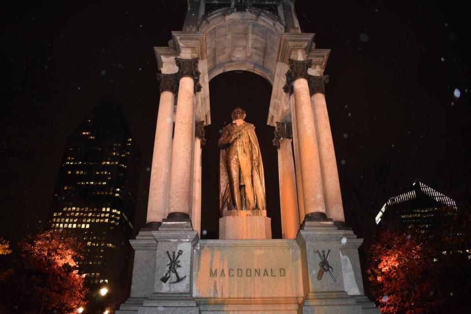 John A. Macdonald statue vandalized by zombies