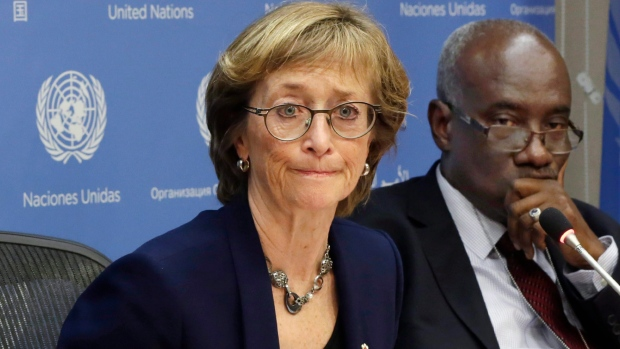 In this Thursday, Dec. 17, 2015 file photo, Judge Marie Deschamps, left, of Canada, chair of the Independent Review Panel on U.N. Response to Allegations of Sexual Abuse by Foreign Military Forces in the Central African Republic, is joined by panel member Hassan Jallow at a news conference at the United Nations. On Wednesday, March 30, 2016, a U.S.-based advocacy group says 98 girls in Central African Republic have reported that they were sexually abused by international peacekeepers and that three girls told U.N. staff they were tied up, undressed and forced to have sex with a dog by a French military commander in 2014. (AP Photo/Richard Drew)