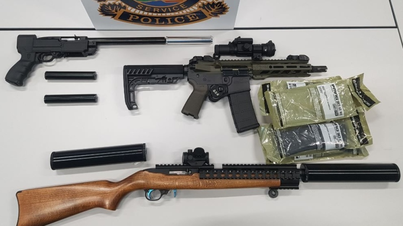 Guns seized from a home in Saugeen Shores, Ont. on Wednesday, Oct. 30, 2019 are seen in this image provided by Saugeen Shores police.
