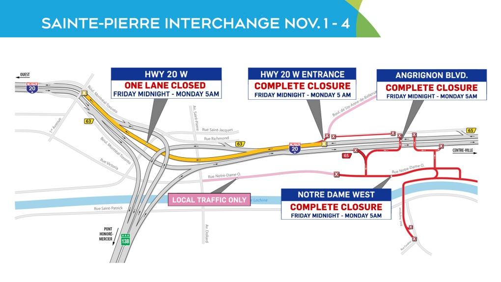Road closures Montreal Weekend of Nov. 1