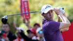 Matthew Fitzpatrick of England tees off for the HSBC Champions golf tournament at the Sheshan International Golf Club in Shanghai on Friday, Nov. 1, 2019. (AP Photo/Ng Han Guan)