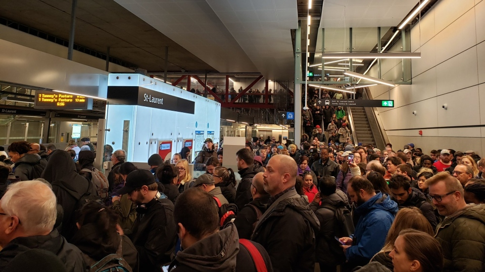 A door issue and a switch problem on the Confederation LRT line caused delays for some commuters to begin the morning rush hour Friday. (Courtesy: Mano Buckshi/Twitter)