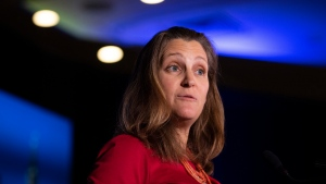 Minister of Foreign Affairs Chrystia Freeland delivers an address at the Triennial Congress of Ukrainian Canadians in Ottawa, on Friday, Nov. 1, 2019. THE CANADIAN PRESS/Justin Tang