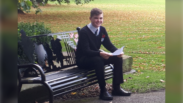 Joshua Dyer, 14, during filming for a Remembrance Day segment on the BBC. (Helen Reed)