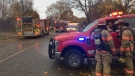 Firefighters work at the scene of a morning fire in southwest London, Ont. on Friday Nov. 1, 2019. (Bryan Bicknell / CTV London)