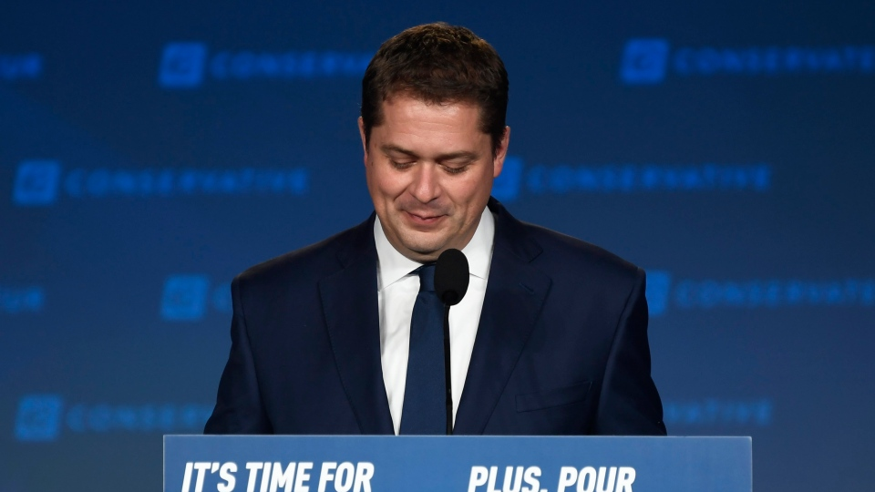 Conservative leader Andrew Scheer appears on stage at Conservative election headquarters in Regina on Monday, Oct.21, 2019. THE CANADIAN PRESS/Adrian Wyld