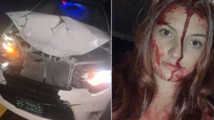 The Marshall University student -- dressed in a bloody 'Carrie' prom dress costume, in an allusion to the eponymous King novel -- totalled her car after a deer ran onto an Ohio interstate road early morning on Oct. 25. (@SidwWolfe/Twitter)
