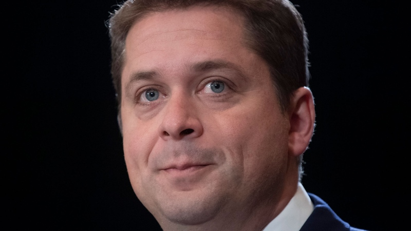 Conservative Leader Andrew Scheer speaks during a news conference in Regina, Tuesday October 22, 2019. THE CANADIAN PRESS/Adrian Wyld