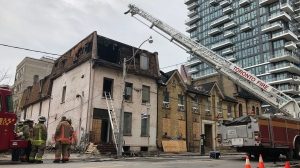 Emergency crews respond to a fire on Jarvis and Shuter streets. (Corey Baird/CTV News Toronto)