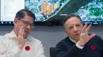 Quebec Premier Francois Legault, right, and Hydro Quebec President and CEO Eric Martel update news media on the ongoing power outages in the province during a briefing in Montreal, Saturday, November 2, 2019. THE CANADIAN PRESS/Graham Hughes