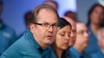 In this July 16, 2019, file photo, Gary Jones, United Auto Workers President, speaks during the opening of their contract talks with Fiat Chrysler Automobiles in Auburn Hills, Mich. (AP Photo/Paul Sancya, File)