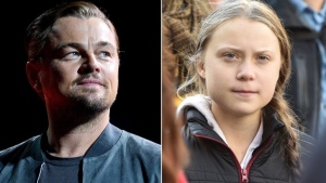 Swedish climate activist Greta Thunberg, right, and Leonardo DiCaprio, left, can be seen in this composite image. (Getty Images)