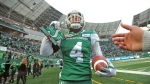Saskatchewan Roughriders linebacker Cameron Judge is awarded the big play chain after a fourth quarter pick six during second half CFL action against the Edmonton Eskimos, in Regina, Saturday, Nov. 2, 2019. THE CANADIAN PRESS/Mark Taylor