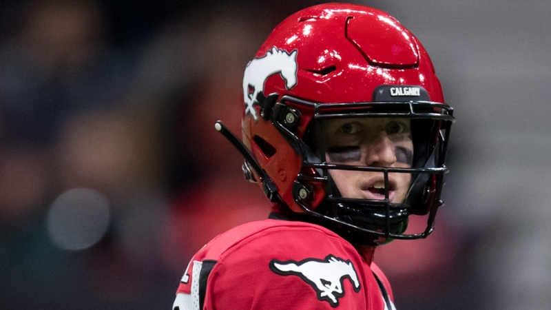 Calgary Stampeders quarterback Bo Levi Mitchell looks on during first half CFL football action against the B.C. Lions, in Vancouver, Saturday, Nov. 2, 2019. THE CANADIAN PRESS/Darryl Dyck