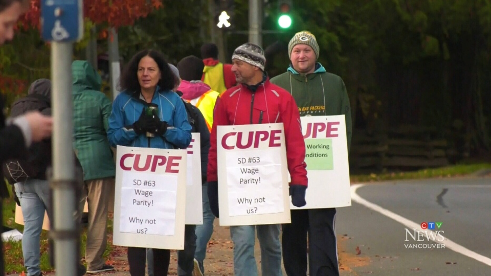 Striking school support workers in Saanich are seen in this file photo. (CTV)