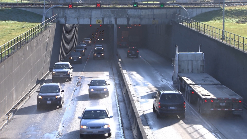 The current Massey Tunnel has a counterflow system, meaning during peak travel times there are three lanes going in the direction with the most traffic. (CTV)