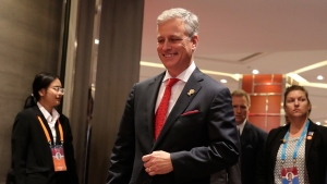 U.S. National Security Adviser Robert O'Brien arrives for the bilateral meeting with Japanese Prime Minister Shinzo Abe at The Association of Southeast Asian Nations (ASEAN) summit in Nonthaburi, Thailand, Monday, Nov. 4, 2019. (AP Photo/Aijaz Rahi)