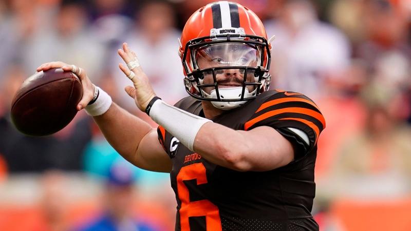 Cleveland Browns quarterback Baker Mayfield (6) throws against the Denver Broncos during the first half of NFL football game, Sunday, Nov. 3, 2019, in Denver. (AP / Jack Dempsey)