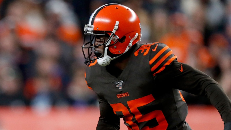 Cleveland Browns defensive back Jermaine Whitehead (35) runs a play against the Denver Broncos during the second half of NFL football game, Sunday, Nov. 3, 2019, in Denver. (AP / David Zalubowski)