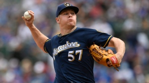 Milwaukee Brewers starter Chase Anderson delivers a pitch during the first inning of a baseball game against the Chicago Cubs Friday, Aug 30, 2019, in Chicago. (AP Photo/Paul Beaty)