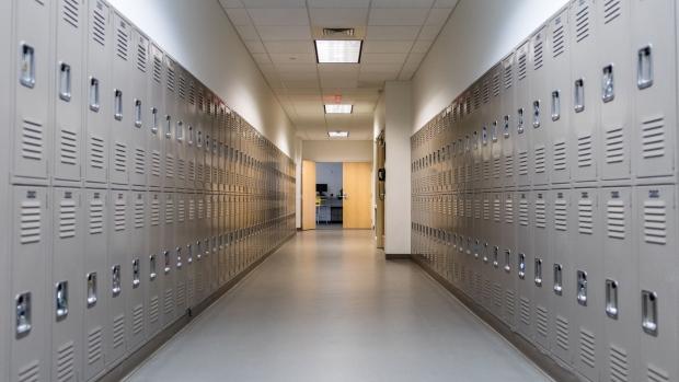 Lockers in a school hallway. (Shutterstock)