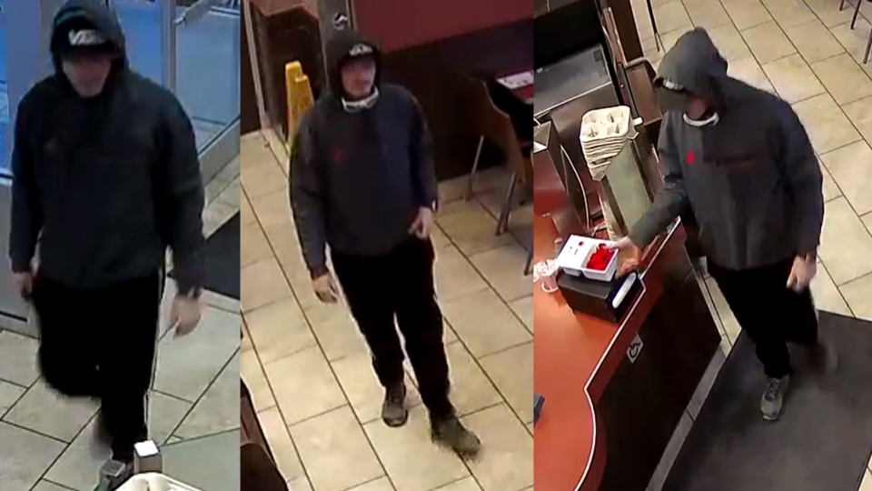 This man was caught on camera stealing a poppy box from a Tim Hortons restaurant in Lloydminster on Nov. 4, 2019. (Source: RCMP)