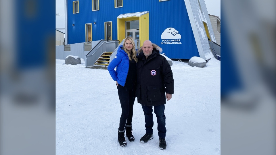 Kate Upton, a Polar Bears International ambassador, and Dani Reiss, President and CEO of Canada Goose, helped celebrate the grand opening of the new Polar Bears International House in Churchill, Manitoba, Canada on November 3, 2019. Image credit: Canada Goose. (Source: CNW Group/Polar Bears International)