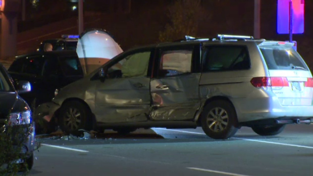 Three vehicles after a crash in Kitchener