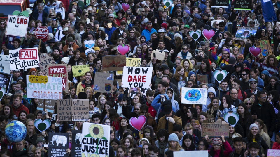 Thousands of people took to the streets for a climate strike in Vancouver, on Oct. 25, 2019. (Melissa Renwick / THE CANADIAN PRESS)