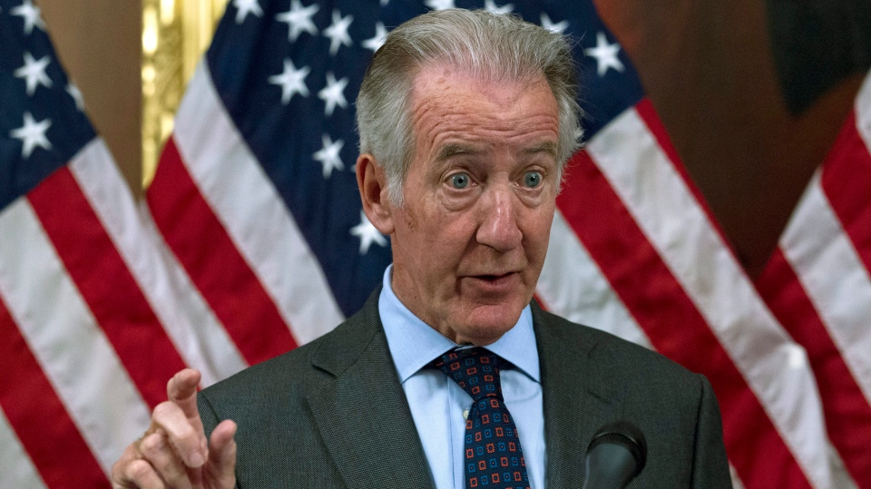 House Ways and Means Committee Chair Rep. Richard Neal, D-Mass., speaks to the media about the H.R. 3 Lower Drug Costs Now Act, at the Capitol in Washington, Wednesday, Oct. 16, 2019. (AP Photo/Jose Luis Magana)