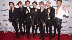 I.M, from left, Minhyuk, Jooheon, Kihyun, Wonho, Hyungwon and Shownu of the band Monsta X pose for photographers backstage during Q102's iHeartRadio Jingle Ball 2018 at the Wells Fargo Center on Wednesday, Dec. 5, 2018, in Philadelphia. (Photo by Owen Sweeney/Invision/AP)