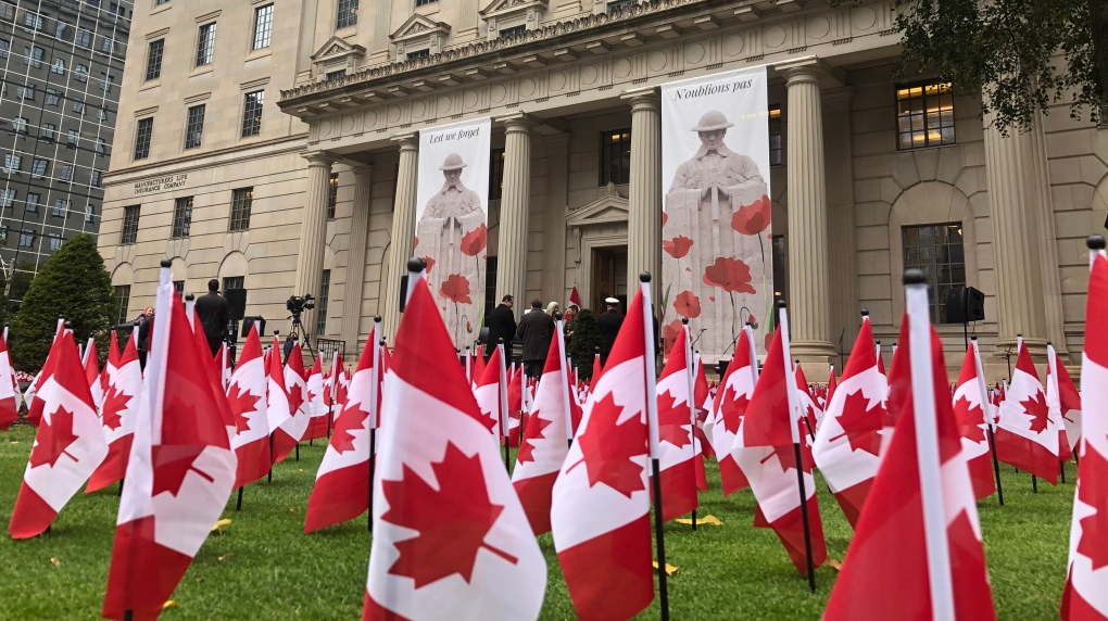 Thousands of flags placed downtown to honour those who died serving Canada